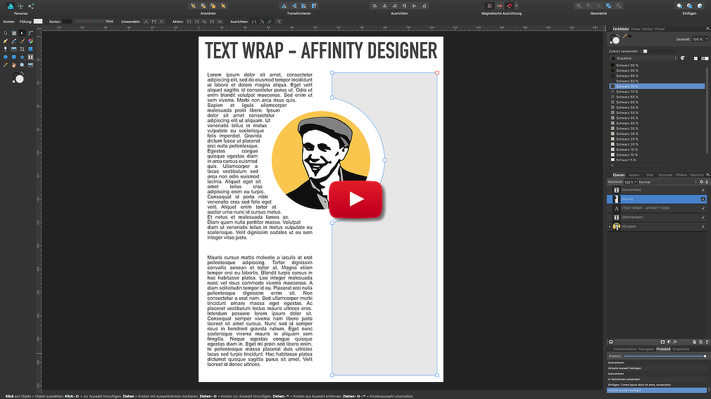 Text Umlauf (Wrapping) Affinity Designer in a minute