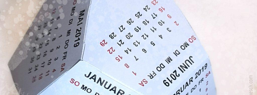 Dodecaeder calendar 2019